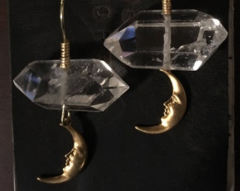 Crystal quartz moon dangle earrings, witchy,