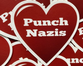 Punch nazis heart vinyl sticker for water bottle
