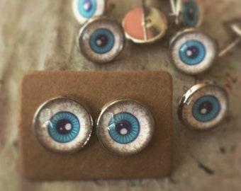 Bloodshot eyes, weirdo hero studs, eye earring, evil eye, Halloween jewelry, glass eye, glass stud earrings, blue eyes, blue eyed earrings