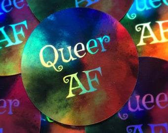 3 inch holographic sticker, Queer AF, lgbt pride
