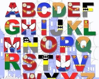 photograph regarding Superhero Letters Printable called Superhero Alphabet PRINTABLE Letters Etsy