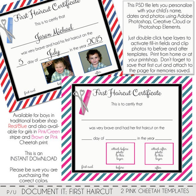First Haircut Certificate Baby First Haircut Photo Etsy