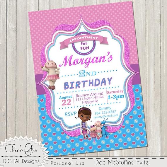 DOC MCSTUFFINS INVITATION Customized Birthday Invitation