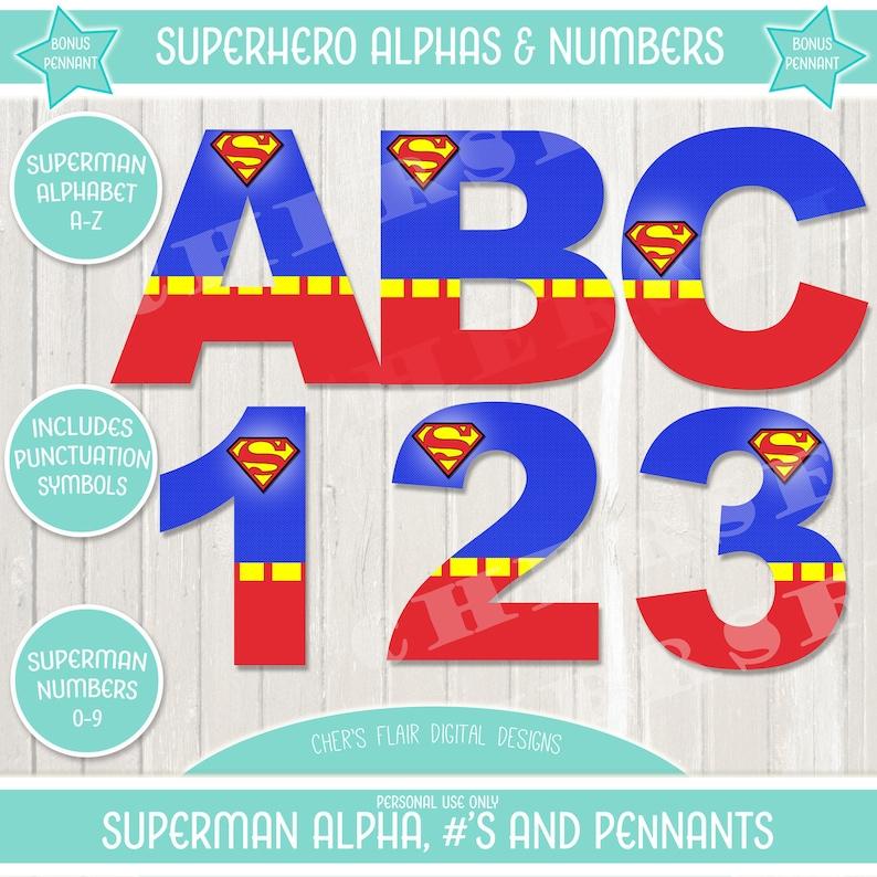 Superhero Superman Alphabet Superhero Alphas Numbers Etsy