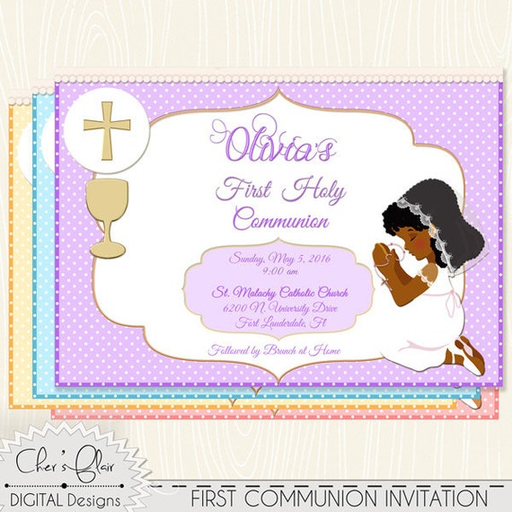 african american first communion invite first holy communion etsy