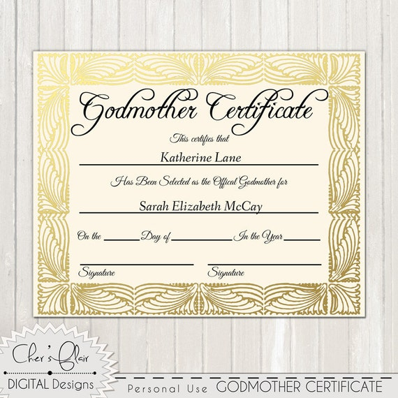 Free printable godfather certificates.