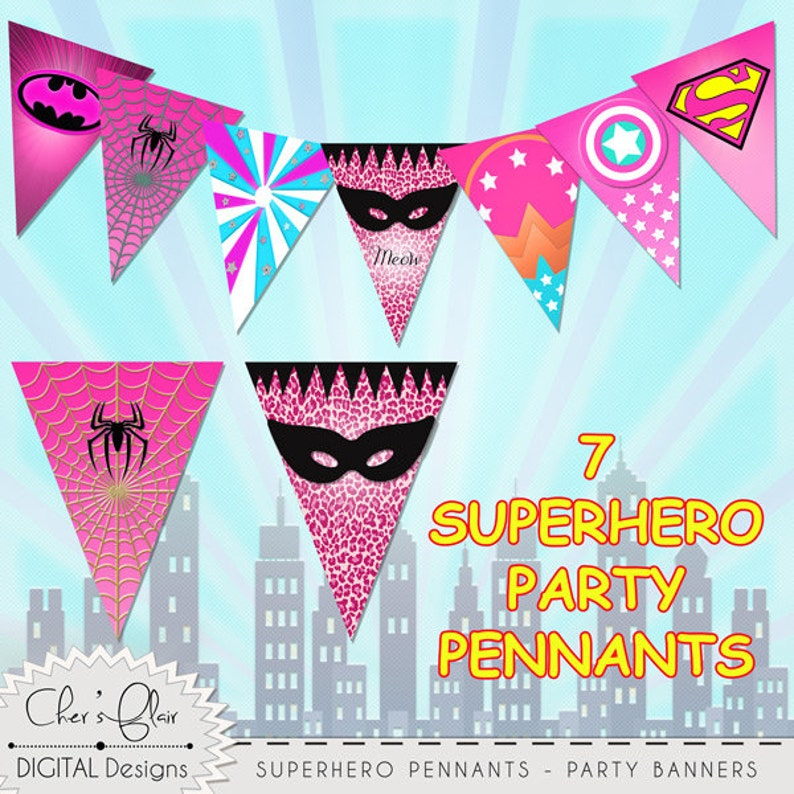 SUPERHERO Pink PARTY PENNANTS Superhero Girl Birthday Banner