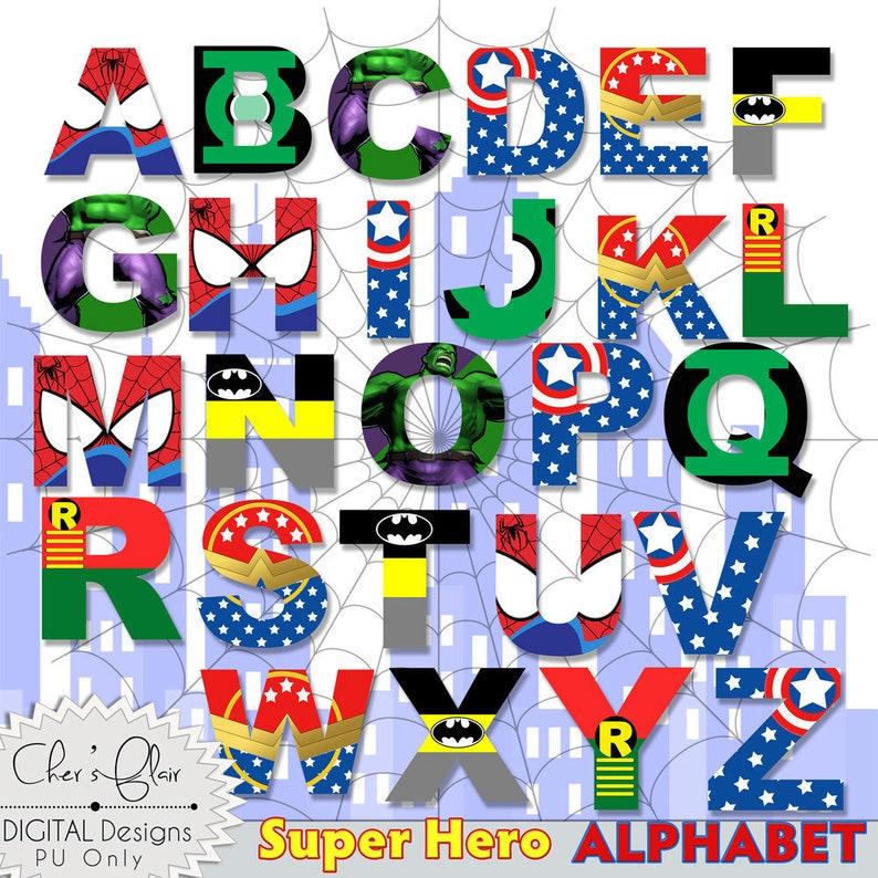 SUPERHERO ALPHABET LETTERS Superhero Digital Alphas