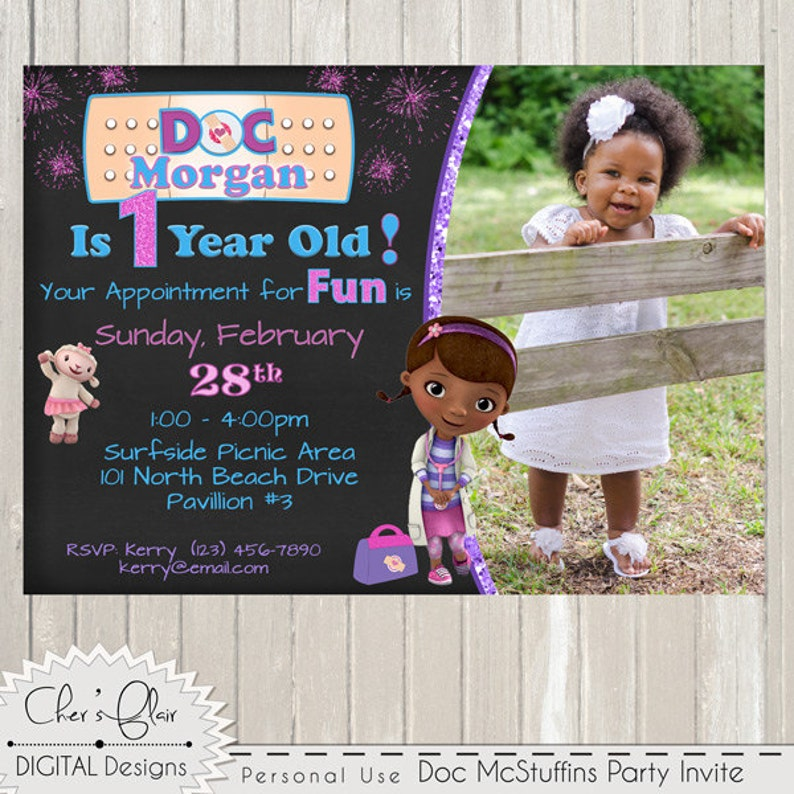 DOC MCSTUFFINS INVITATION Customized Birthday Invitation