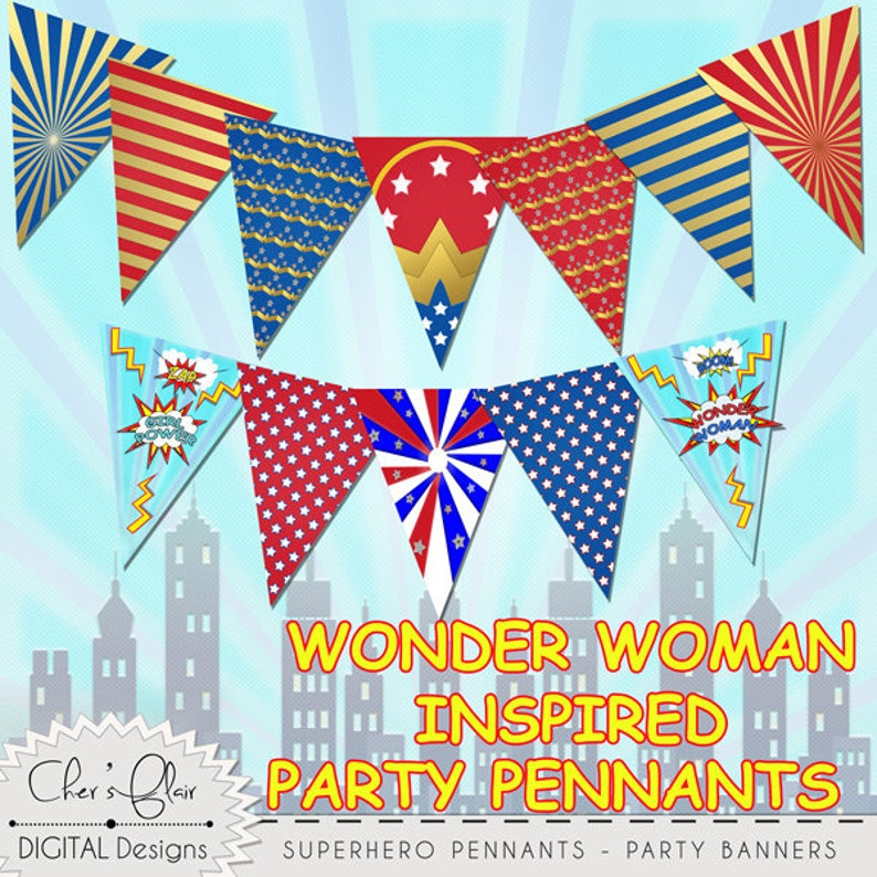 SUPERHERO PARTY PENNANTS Superhero Girl Birthday Banner