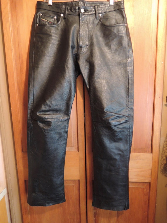 Rugged Black Leather Pants