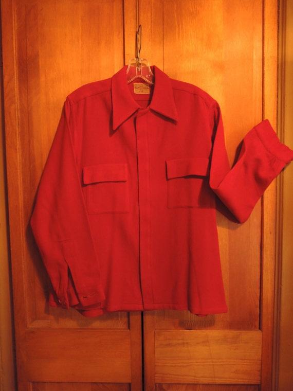 Red Wool Zip Front Shirt