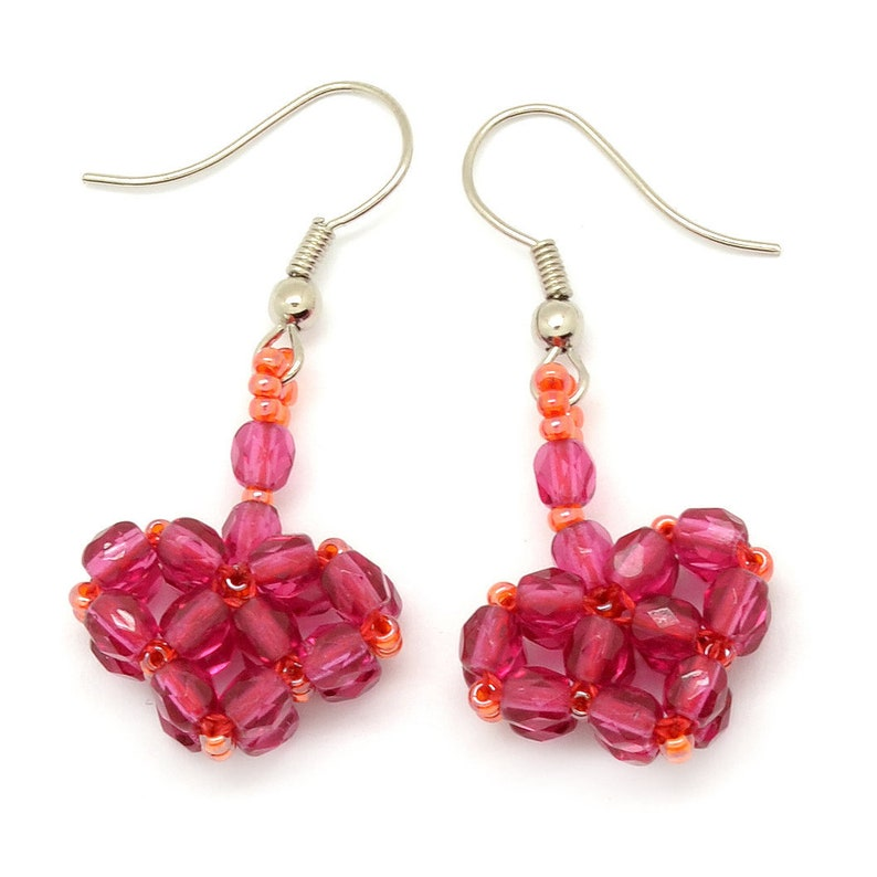 Heart Earrings Ruby Red Valentines Day Earrings made from image 0