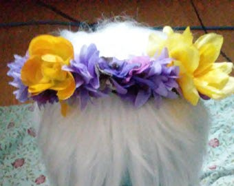 Purple Pansy and Yellow Flower Crown