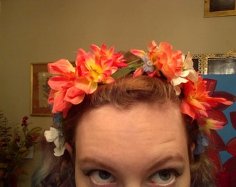 Blue, White, and Peach-colored Flower Crown