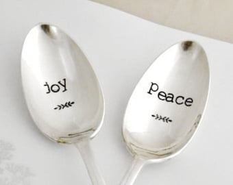 Hand stamped. Joy serving spoon serving spoon Hostess Gift Idea Chritmas Table Decoration gather decor