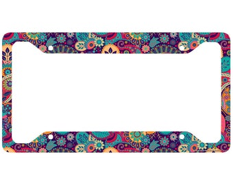 Cute License Plate Frame-30-777 Airstrike Colorful Mandala License Plate Frame Hippie License Plate Holder Floral Pattern Car Tag Frame