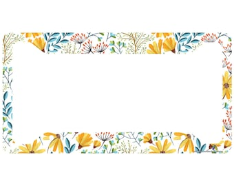 31a2415fb Airstrike Yellow Daisy Flower License Plate Frame