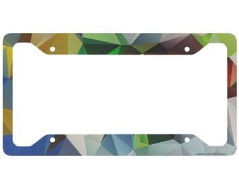 Airstrike Geometric License Plate Frame Cute License Plate Frame-30-721 Geometric License Plate Holder Colored Triangles Car Tag Frame