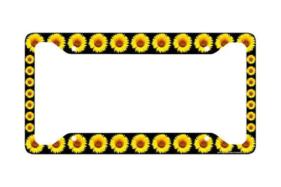Sunflower License Plate Frame Sunflower Car Tag Frame | Etsy