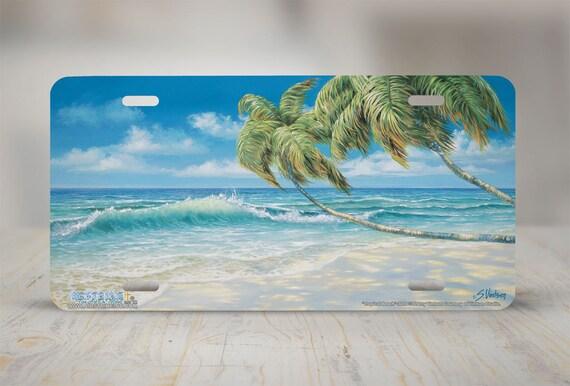 Beach Palm Scene Metal License Plate LP-543