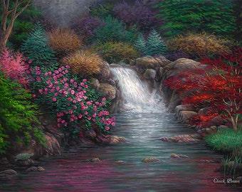Waterfall Painting, Garden Art, Japanese Garden Artwork, Painting Of Garden,  Pools Of