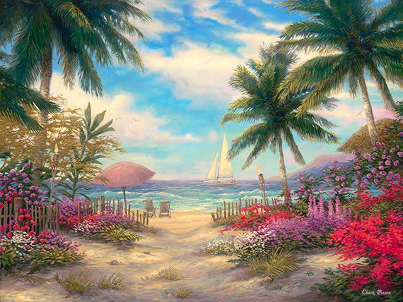 Beach Tropical Painting Palm Tree Canvas Art Large Paradise Etsy