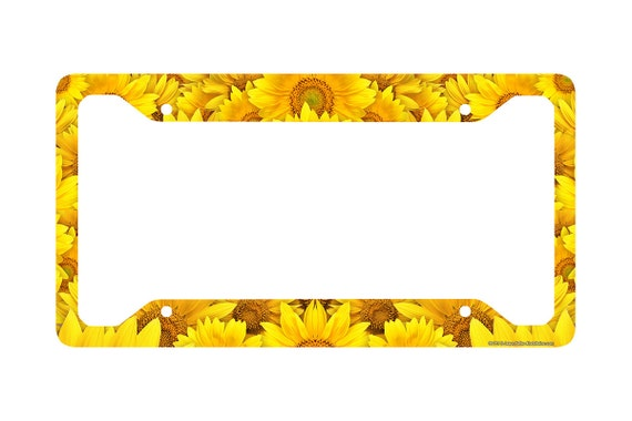 Sunflower License Plate Frame Sunflower Car Tag Frame | Etsy
