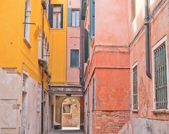 Venice Italy Photography, Yellow Pink Art, Italian Art, Venice Italy Art, Travel Photography, Fine Art Photo, Vintage Decor
