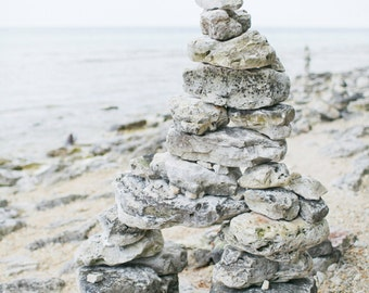 Door County Wisconsin Cave Point Stacked Rocks Beach Lake Photo 8x10 Photography