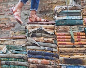 Vintage Books Art, Vintage Books Photo, Venice Italy Photography, Venice Italy Bookstore, Travel Photography, Book Decor, Fine Art Photo