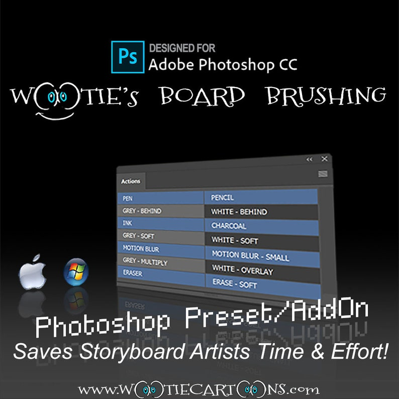 W( o)(o )tie's Board Brushing! Storyboarding tool of 14 most common  Photoshop Brushes for speed and efficiency  Set hotkeys with Actions