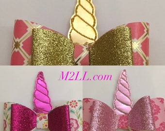 Unicorn hair bow, Unicorn horn bow, Toddler girl hair assessories,Boutique hair bows, little girl bows