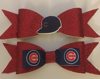 Chicago Cubs Hair Bow, Chicago Cubs, sports bow, baseball bow