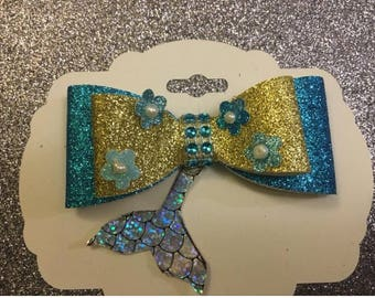 Mermaid Hair  Clip, glitter hair bow, blue and gold mermaid bow.