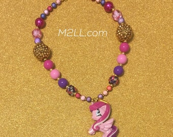 Pony   bubblegum bead necklace,