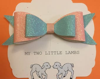 Glitter Hair bow, Hair bow, Hair clip, Mint and Peach Glitter Bow