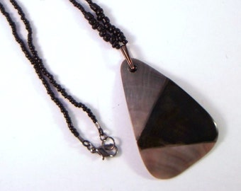 Black Triangle Pendant Necklace natural black lip oyster shell with black seed beads