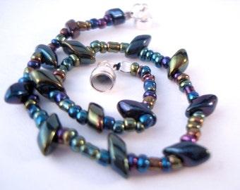 Colorful Magnetic Bracelet dark rainbow Miyuki matagama beaded bracelet with magnetic clasp