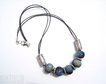 Iridescent Statement Necklace large bead necklace bumpy beads blue green black and silver