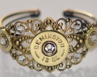 Remington 12 Gauge & 410 Gauge Shotgun Shell Bullet Cuff Bracelet   With  9 Swarovski Crystals Custom Made