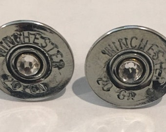 Remington 20 Gauge  Silver Color Shotgun Shell Bullet  Earrings with Sterling Silver Post  Swarovski Crystals Made in the USA