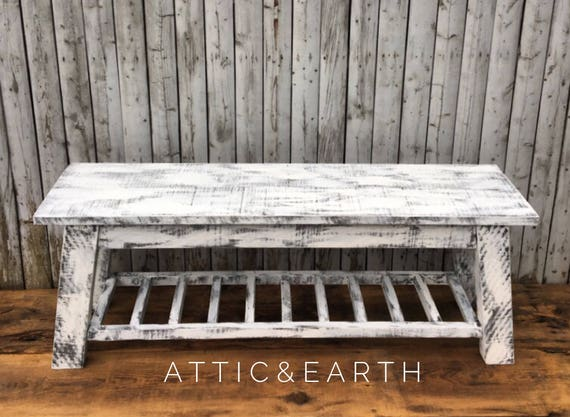 Wondrous Distressed White Bench Theyellowbook Wood Chair Design Ideas Theyellowbookinfo