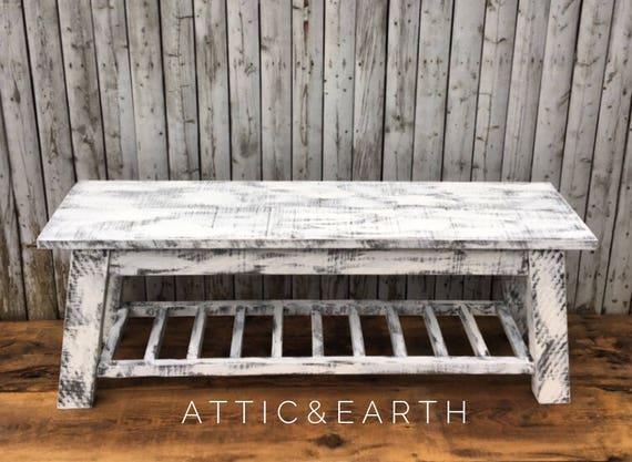 Outstanding Distressed White Bench Machost Co Dining Chair Design Ideas Machostcouk