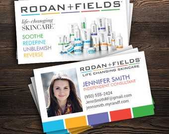 Business cards rodan and fields etsy rodan and fields business cards with photo printed rf consultant 2 x 35 custom info free ship colourmoves