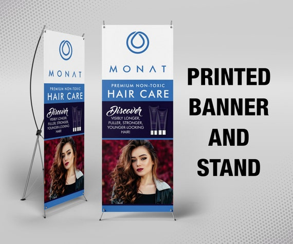 Monat Banner With X Stand 24 X 63 Printed Full Etsy