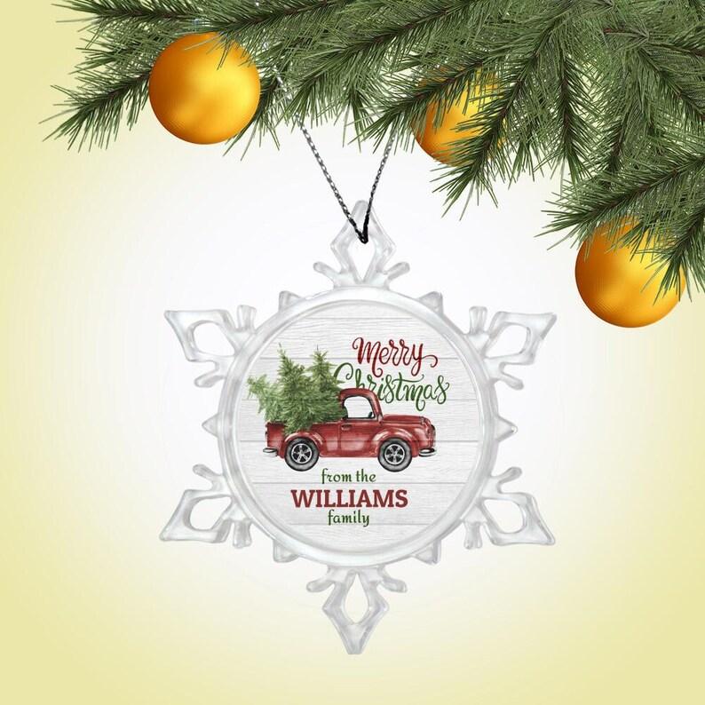 Custom Name OrnamentYule OrnamentBauble OrnamentYule DecorFamily Name OrnamentMerry Christmas Snow Crystal Ornament-1