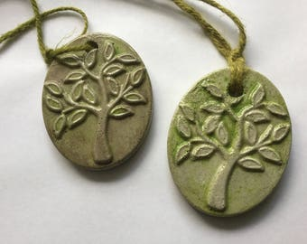 """Set of 2 Rustic concrete """"tree"""" ornaments/gift tags/Garden tags/garden ornaments/garden decor"""