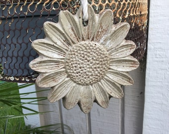 2 Rustic solid concrete sunflowers garden ornaments/garden tags/garden decor