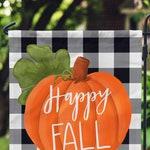 Fall Garden Flag - Buffalo Check - Personalized Garden Flag - Custom House Flag - Buffalo Plaid - Pumpkin Decor - Happy Fall - Monogram Flag